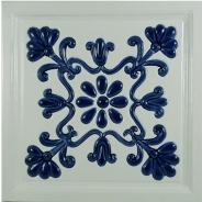 Decor ceramica pictat manual, alb-albastru - model 3