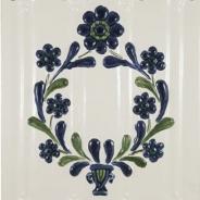 Decor ceramica pictat manual, alb-verde-albastru, model 5
